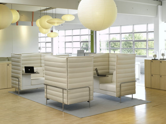Eggshell White Alcove Highback Sofa featured in an office setting with other furniture