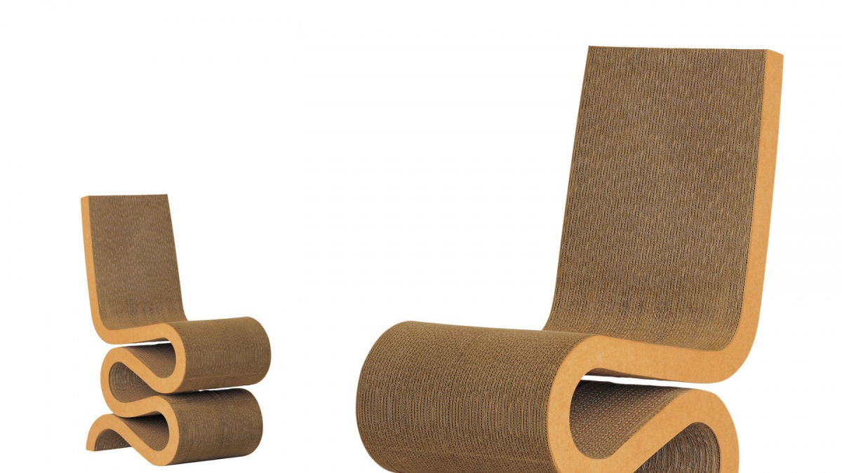 Textured Tan Wiggle Side Chair