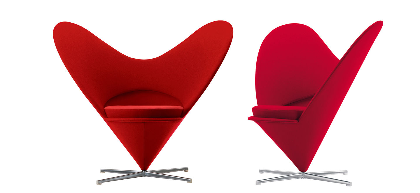 Red Heart Cone Lounge Chair with metal legs