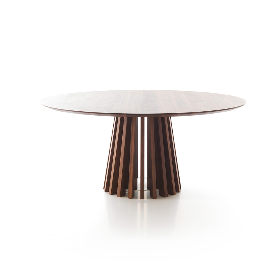Round Dark Wood Patterned Aria Dining Table