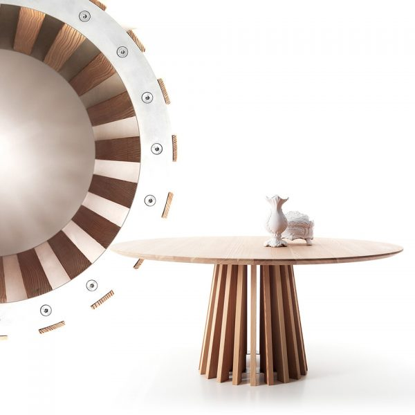Round Wood Patterned Aria Dining Table