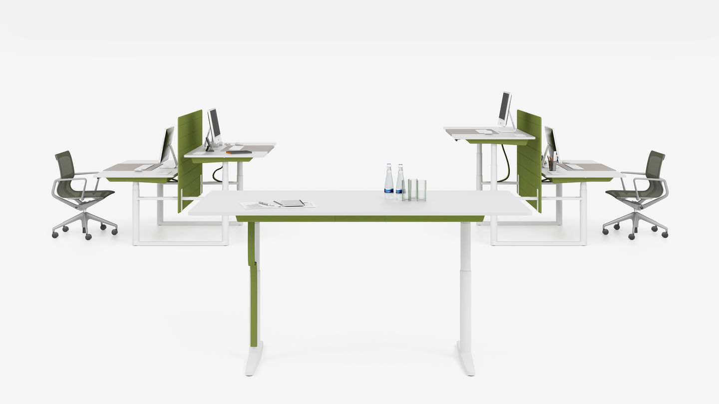 White Tyde Sit-Stand Table with Green Piping and Divider
