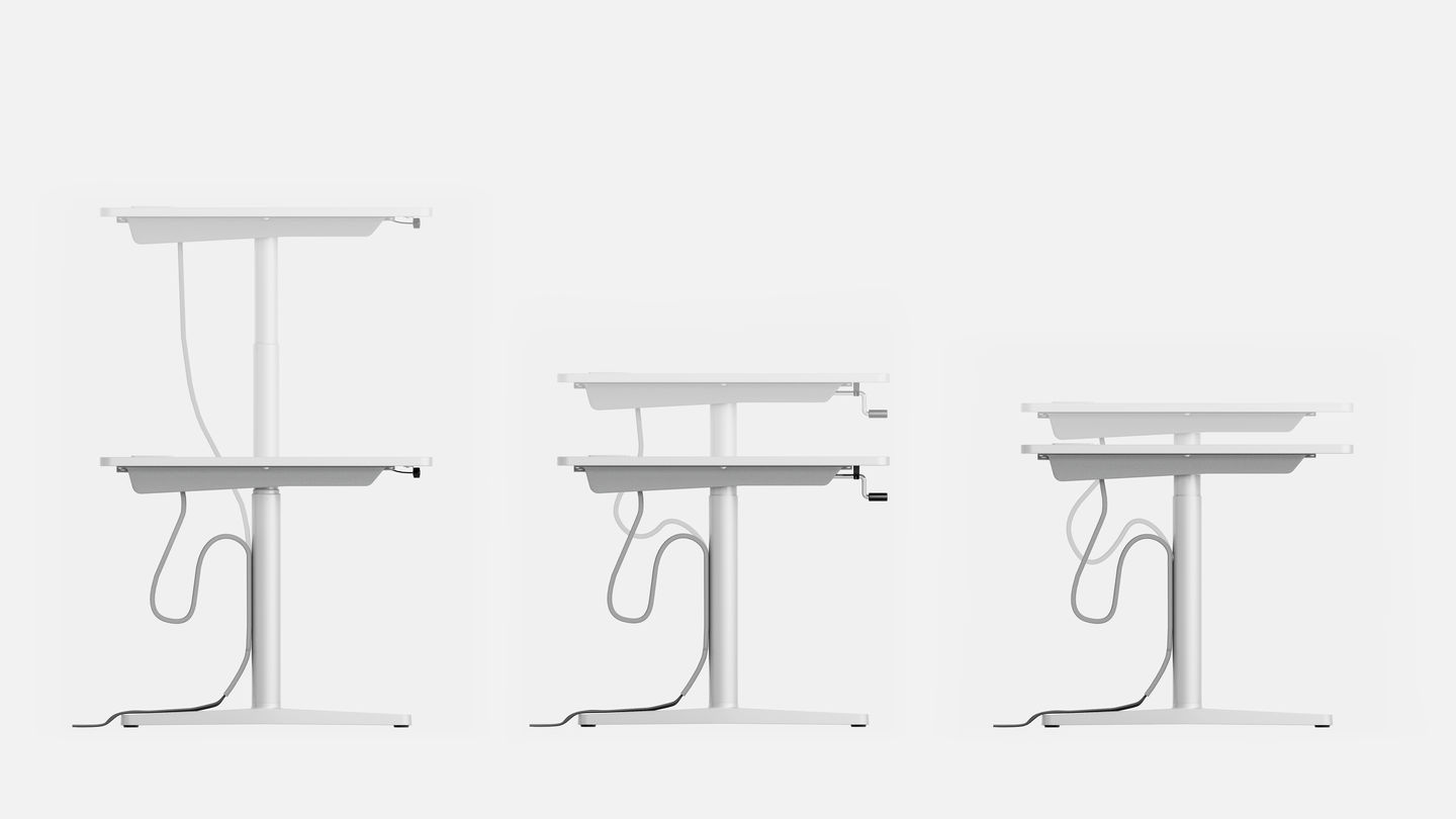 White Tyde Sit-Stand Table with Adjustable Top Shelf