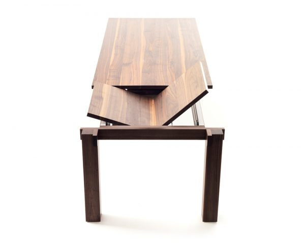 Ora Blu Table with dark wood pattern and metal underframe