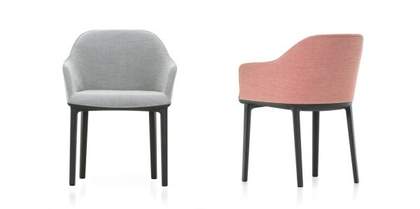 Grey and Pink Softshell Chairs with black legs