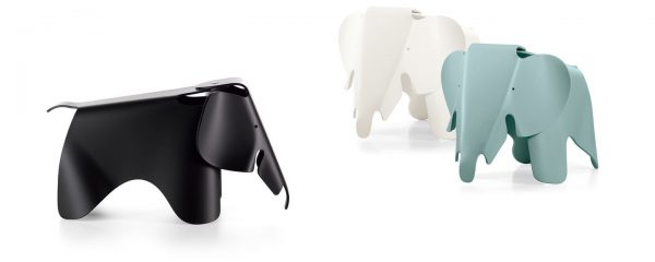 Eames Elephant Seat in Black, Blue, and White