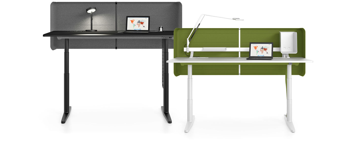 Tyde Sit-Stand Tables with Divider in Slate Black and Olive-Green-and-White respectively