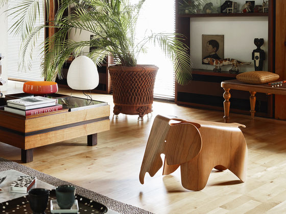Wood Pattern Eames Elephant featured in a living room with other furniture