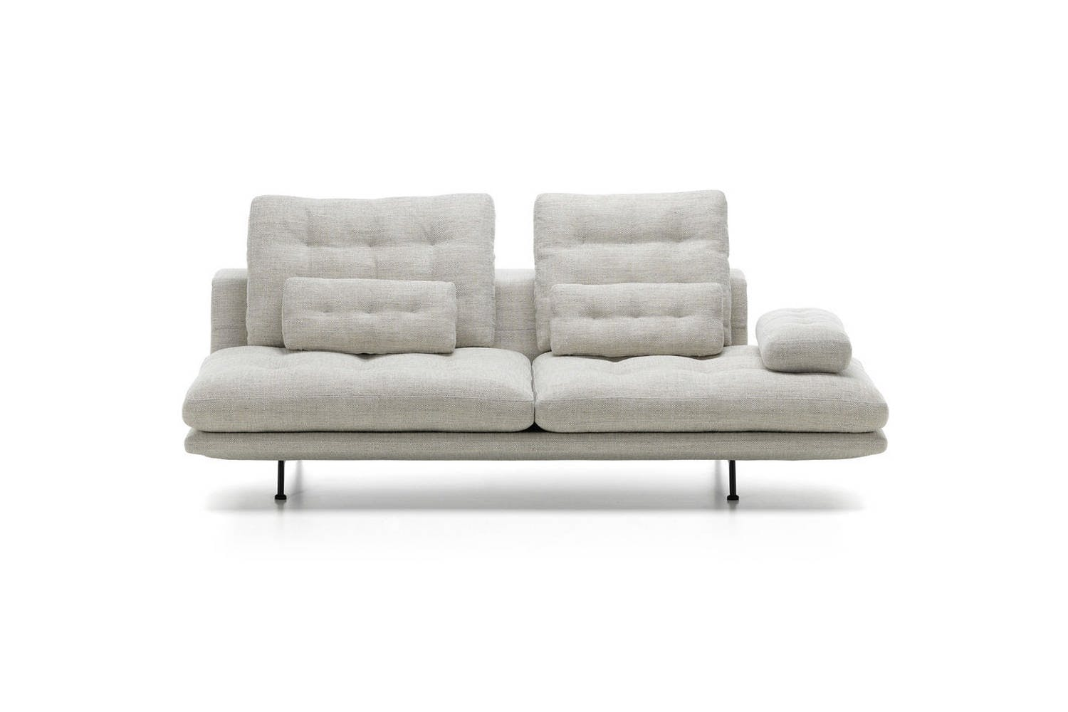White Grand Sofa with Black Metal Legs