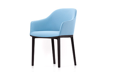 Robin's Egg Blue Softshell Chair with Black Legs