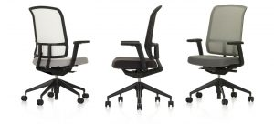 AM Chair with Mesh Backrest and Dark-Coloured Wheeled Legs, in White, Grey, and Black