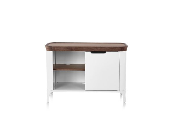 Airia Media Cabinet with Wood Pattern Tabletop, Wood Pattern Compartment Dividers, and White Paneling and Legs
