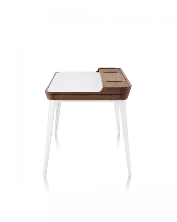 Airia Desk with White Tabletop, Wood Pattern Frame, and White Legs