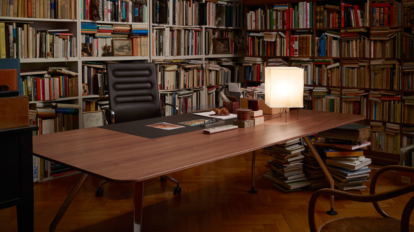 Ad Hoc Executive table with Dark Wood Pattern featured with other furniture