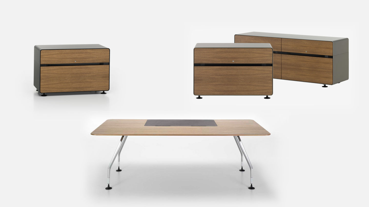 Ad Hoc Executive table with Wood Grain Pattern and Dark Brown Dashboard featured with other furniture