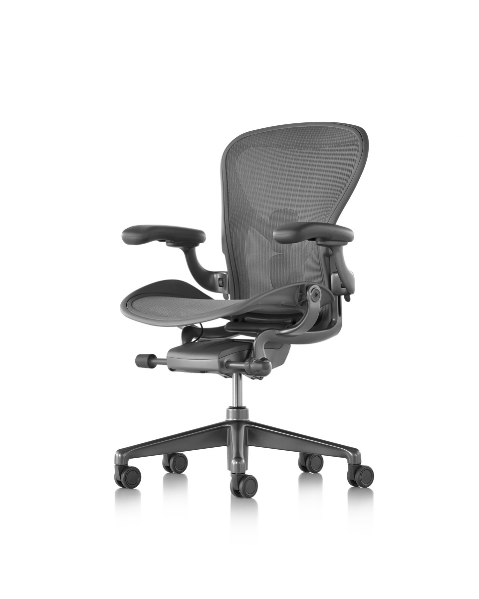 Carbon Aeron Chair with armrest and metal wheeled legs