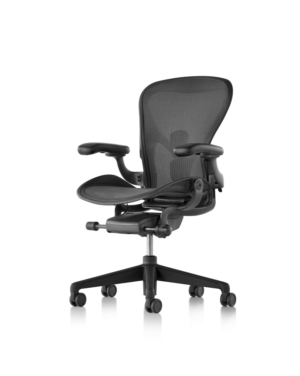 Black Aeron Chair with armrest and metal wheeled legs