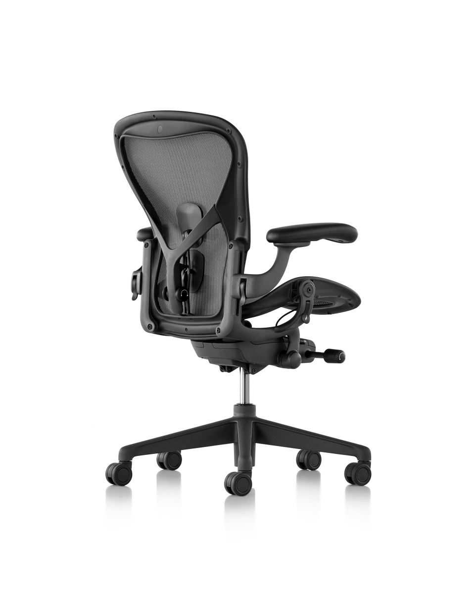 Graphite Aeron Stool Chair with armrest and metal wheeled legs