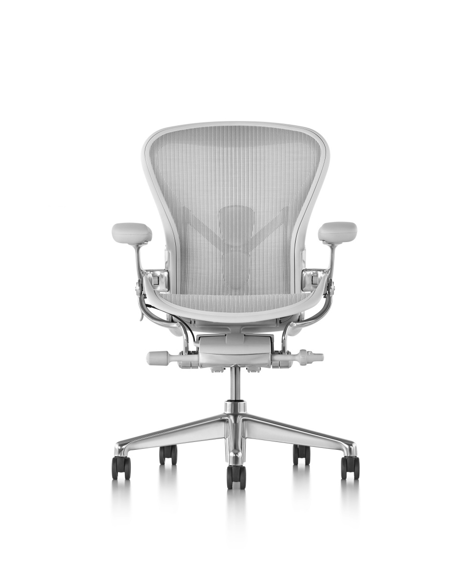 Mineral Aeron Stool Chair with armrest and metal wheeled legs