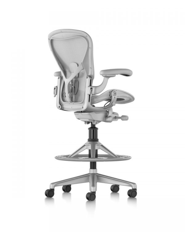Silver Aeron Stool with Armrests and Five Wheeled Legs