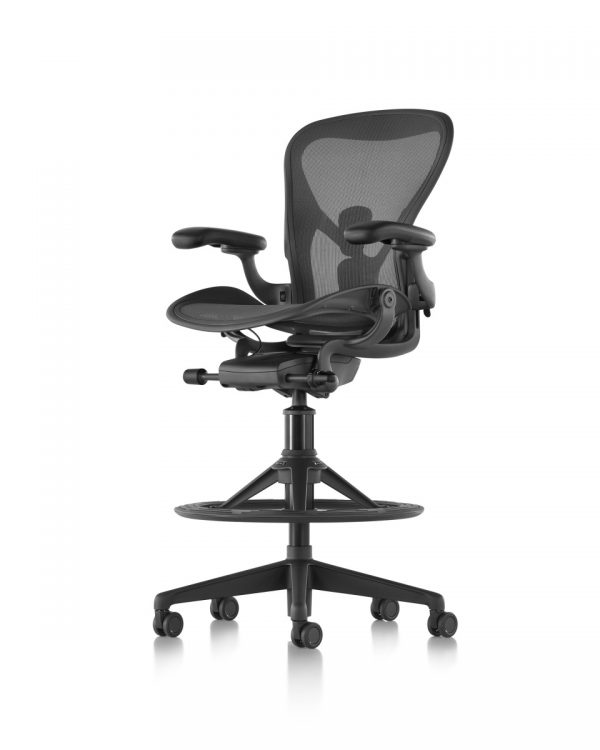 Black Aeron Stool with Armrests and Five Wheeled Legs