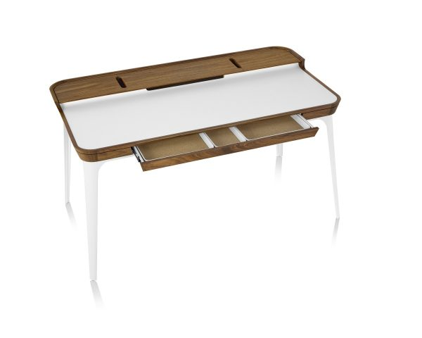 Aira Desk with White Tabletop and Legs and Wood Pattern Frame