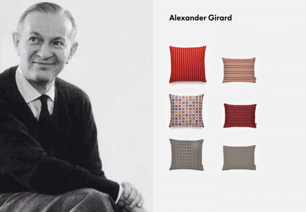 Alexnder Girard pictured with throw designs