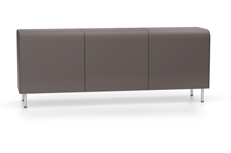 Dark Grey Bench without Backrest or Armrest, with Steel Legs