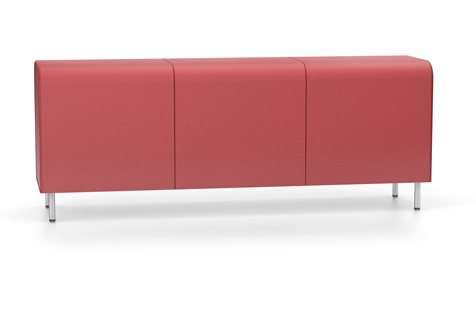 Red Bench without Backrest or Armrest, with Steel Legs