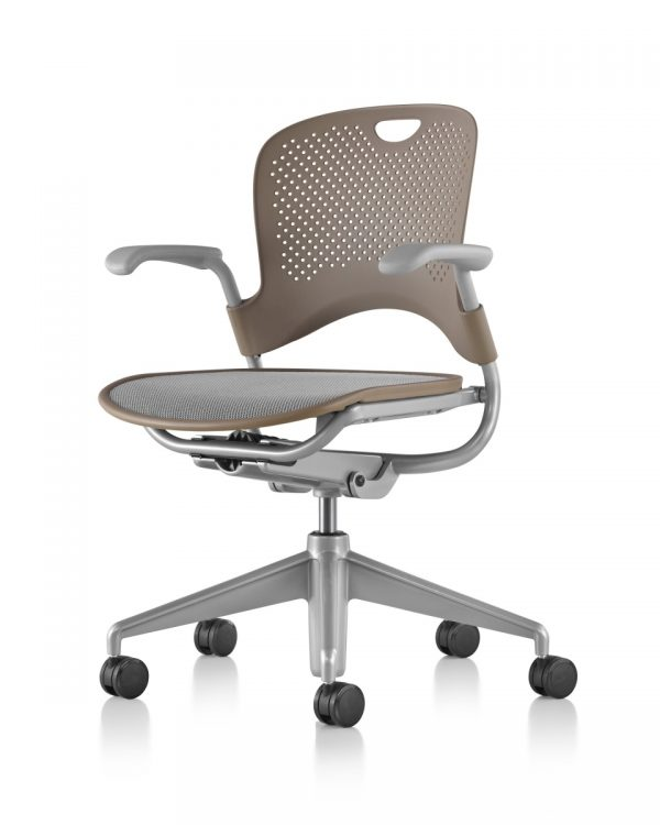 Brown Caper Multipurpose Chair with Armrests and Five Wheeled Legs