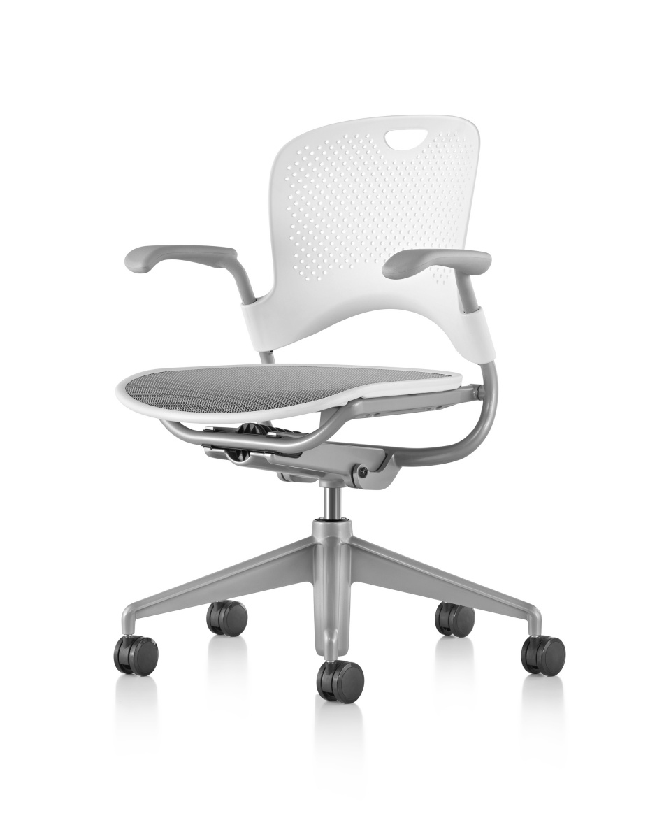 White Caper Multipurpose Chair with Armrests and Five Wheeled Legs