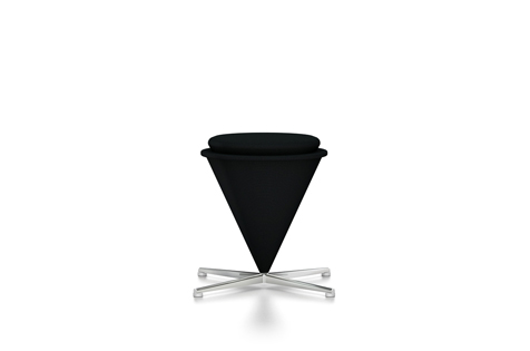 Black Cone Stool with Silver-Coloured Legs