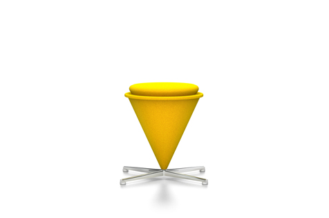 Yellow Cone Stool with Silver-Coloured Legs