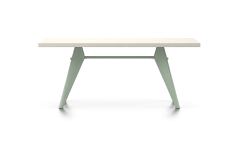 Rectangular EM Table with White Tabletop and Mint Legs