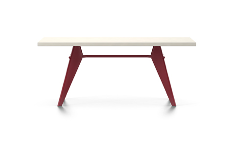 Rectangular EM Table with White Tabletop and Red Legs