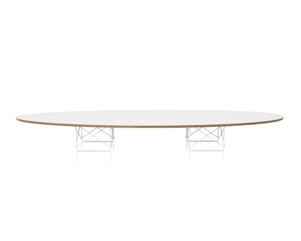 Elliptical Eames Wire Base Table with White Tabletop and Wood Pattern Piping