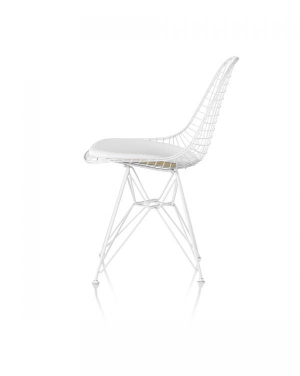 white Wire Chair with mesh windows and metal legs and support