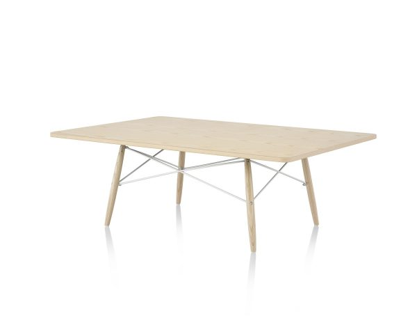 Rectangular Eames Coffee Table with Light-Coloured Tabletop and Legs and Support