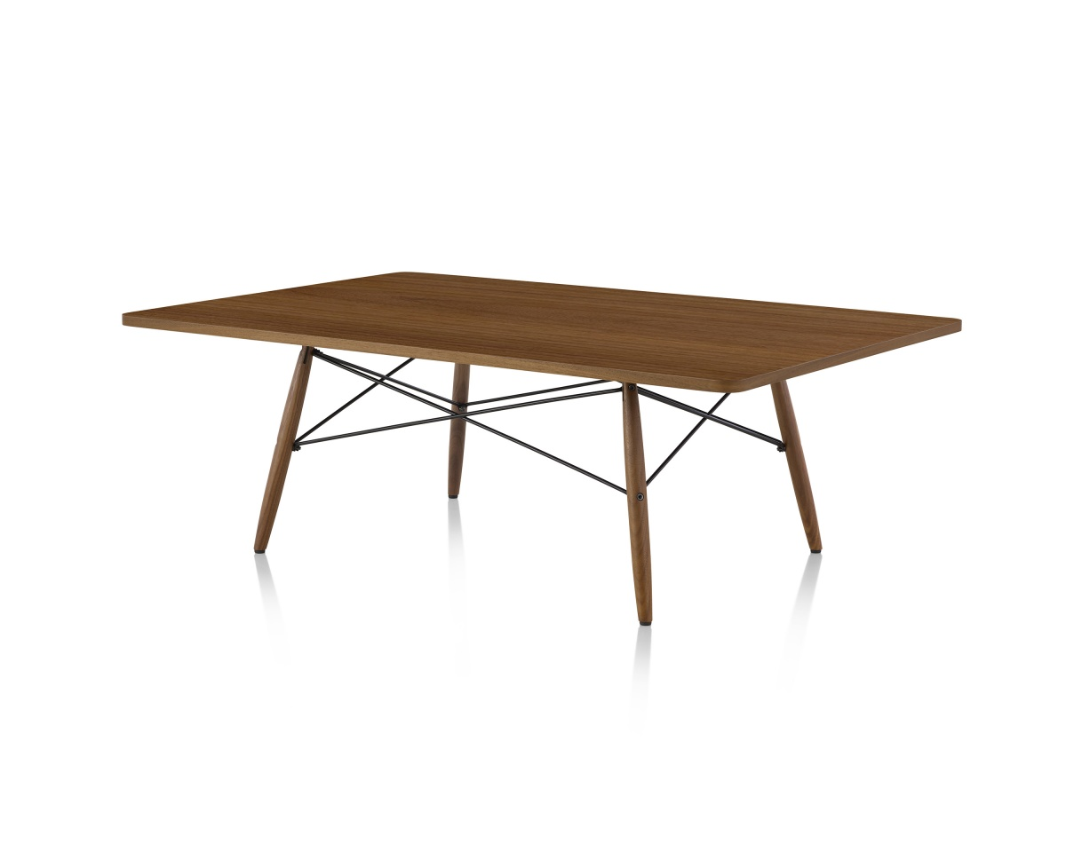 Rectangular Eames Coffee Table with Metal Legs and Support