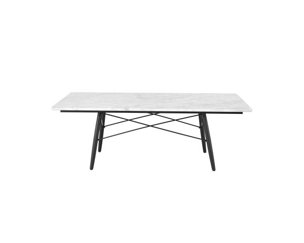 Rectangular Eames Coffee Table with White Tabletop, Metal Legs and Support