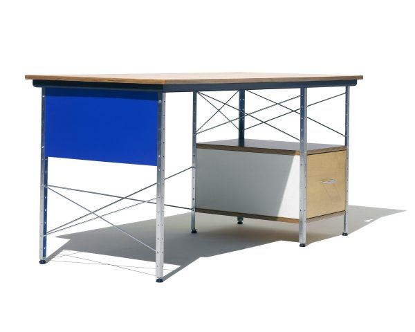 Eames Desk with White Drawer, Blue Paneling, and Metal Support and Bottom Shelf