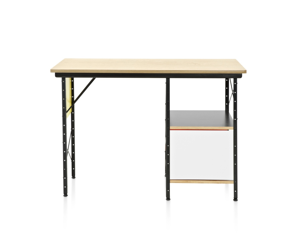 Eames Desk with White Drawer and Metal Support and Bottom Shelf