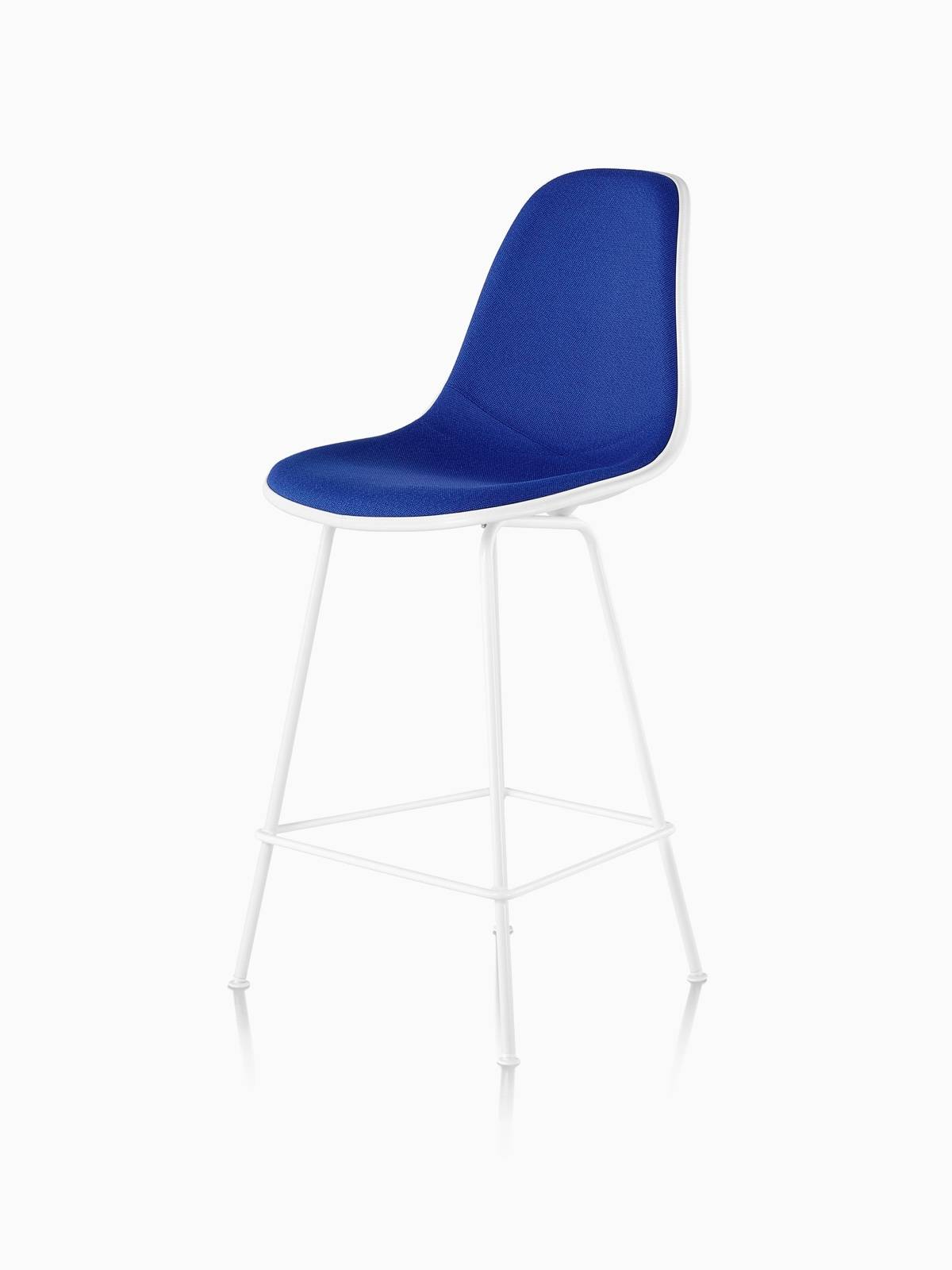 Blue Eames Molded Plastic Stool with White Legs