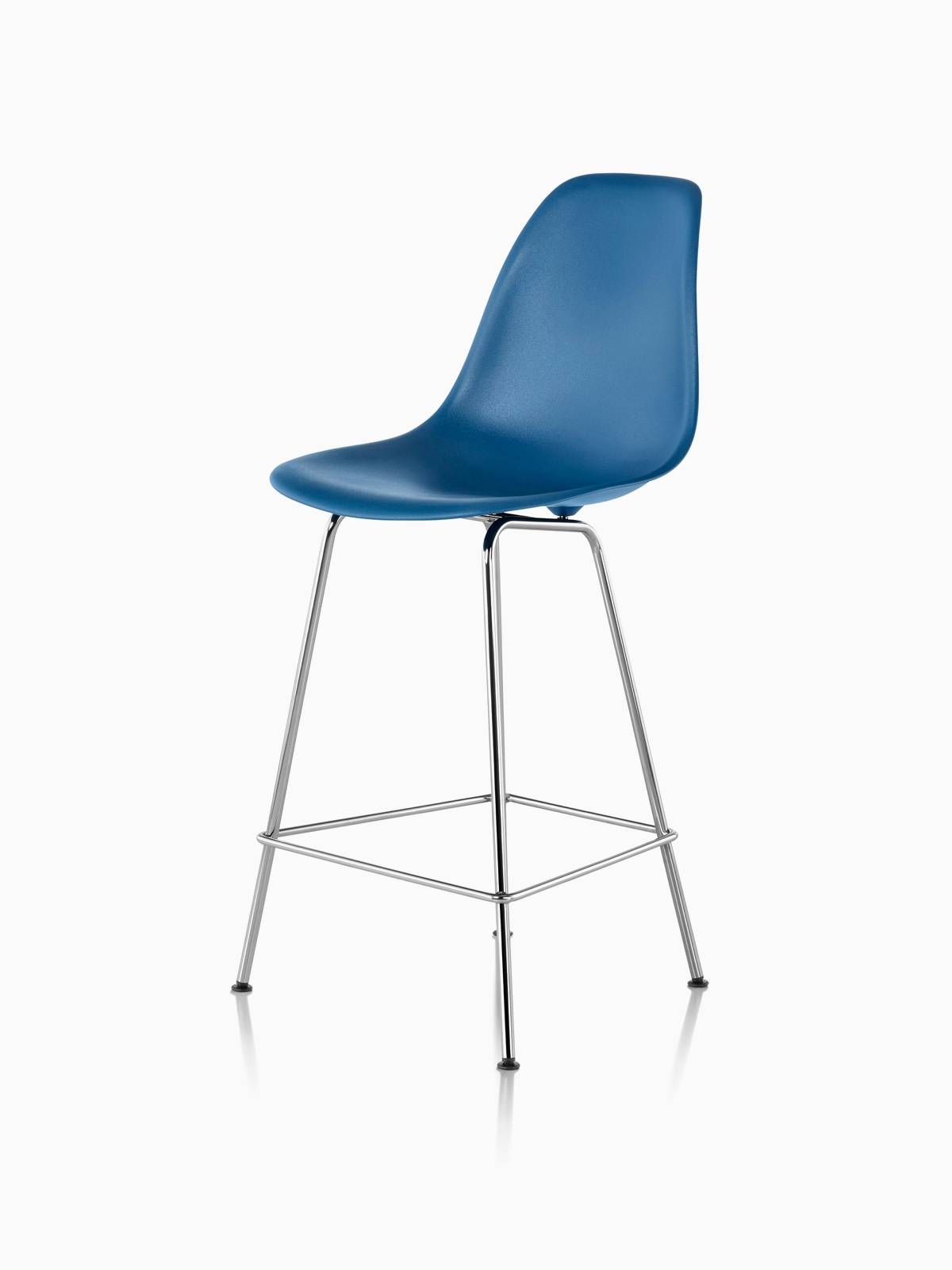 Blue Eames Molded Plastic Stool with Metal Legs