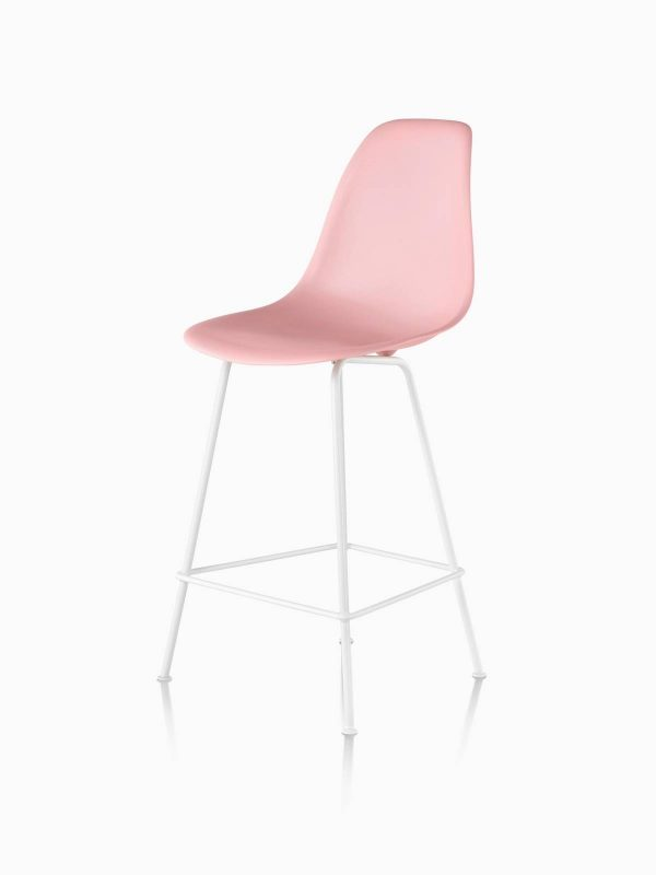 Pastel Pink Eames Molded Plastic Stool with White Legs