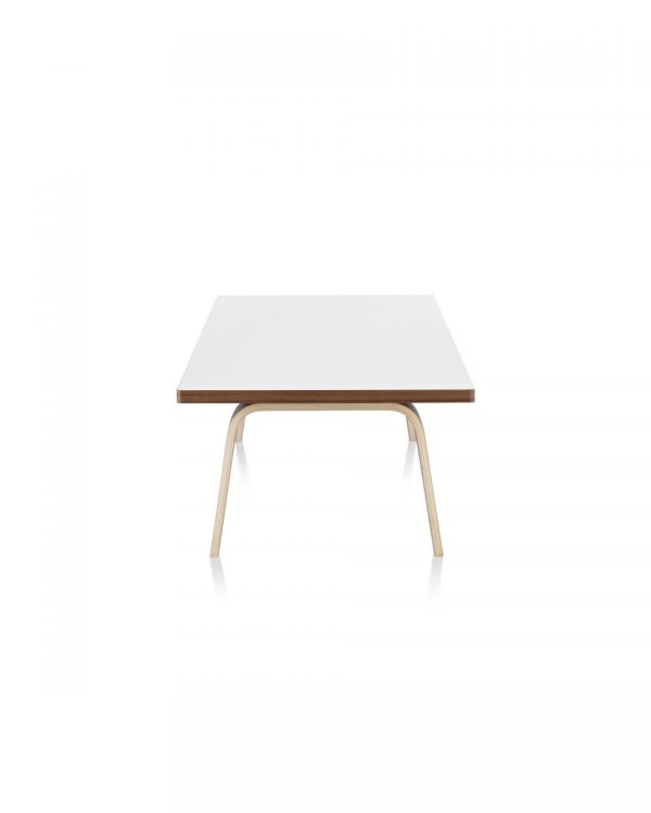 Rectangular Eames Coffee Table with white tabletop and wood pattern piping and legs