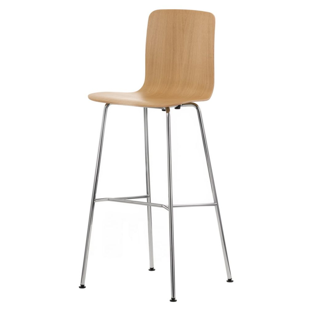 Beige High Hal Stool With Light-Coloured Metal Legs