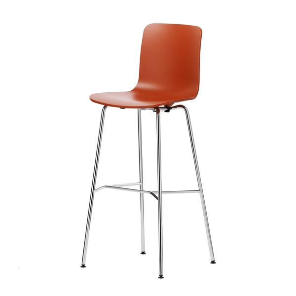 Rust Red High Hal Stool With Light-Coloured Metal Legs