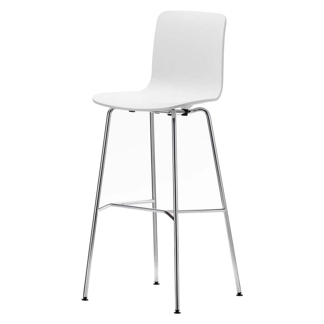 White High Hal Stool With Light-Coloured Metal Legs