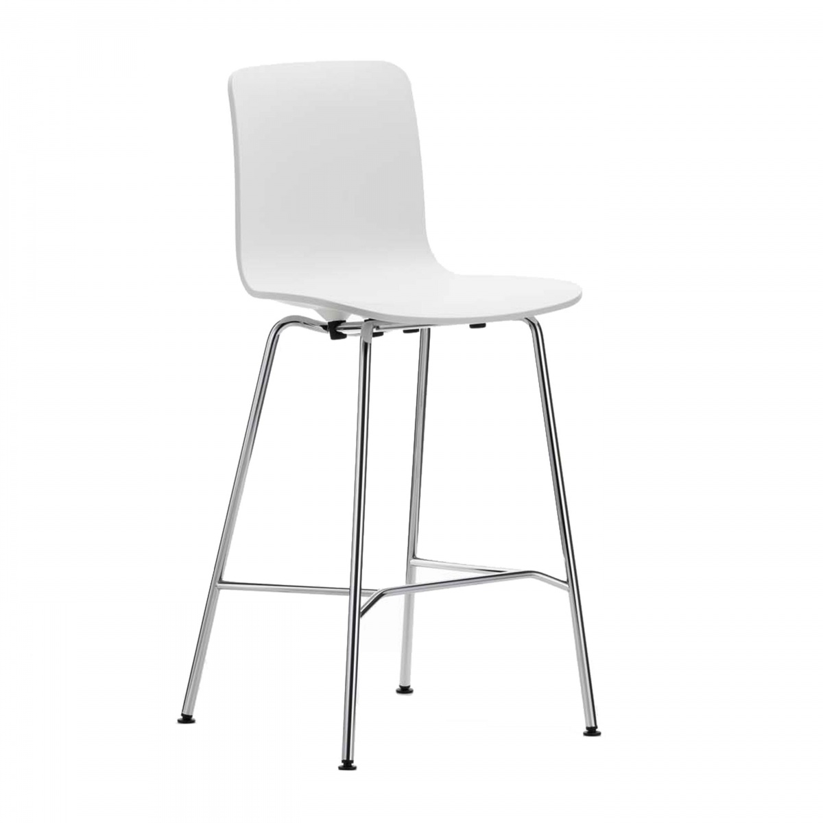 White Medium Hal Stool With Light-Coloured Metal Legs
